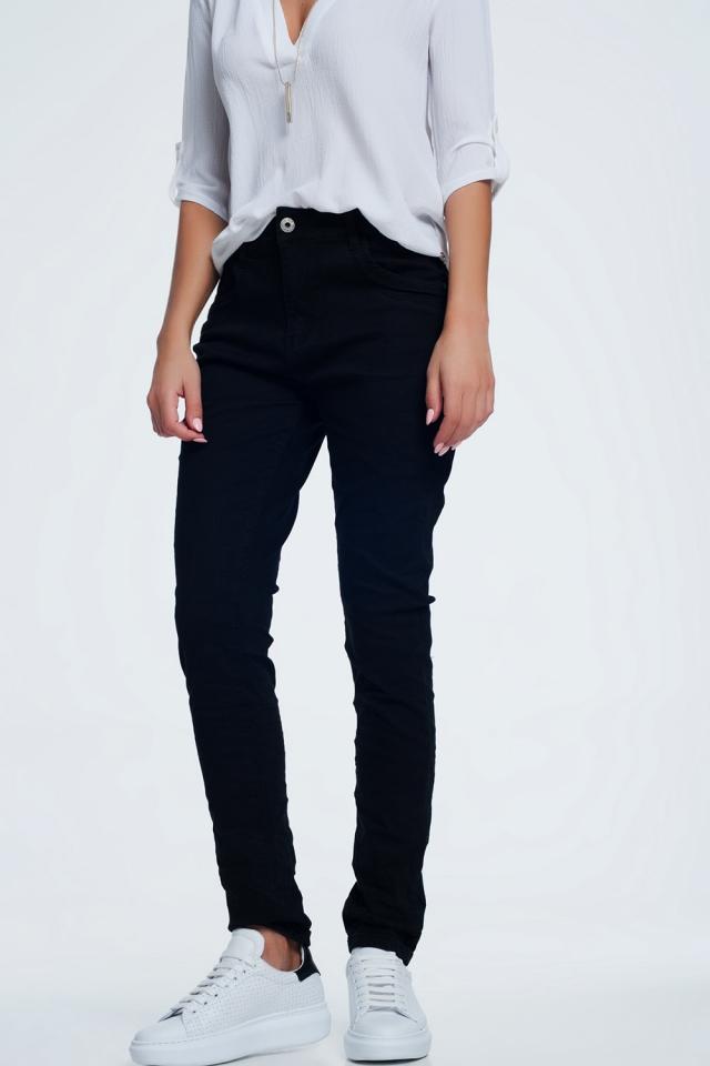 jean skinny noir avec entrejambe bas