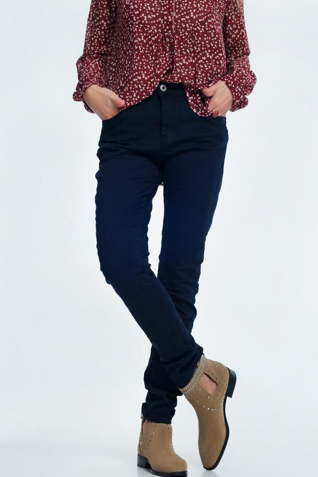 jean skinny bleu marine avec entrejambe bas