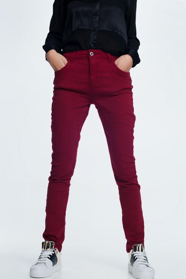 jean skinny bordeaux avec entrejambe bas