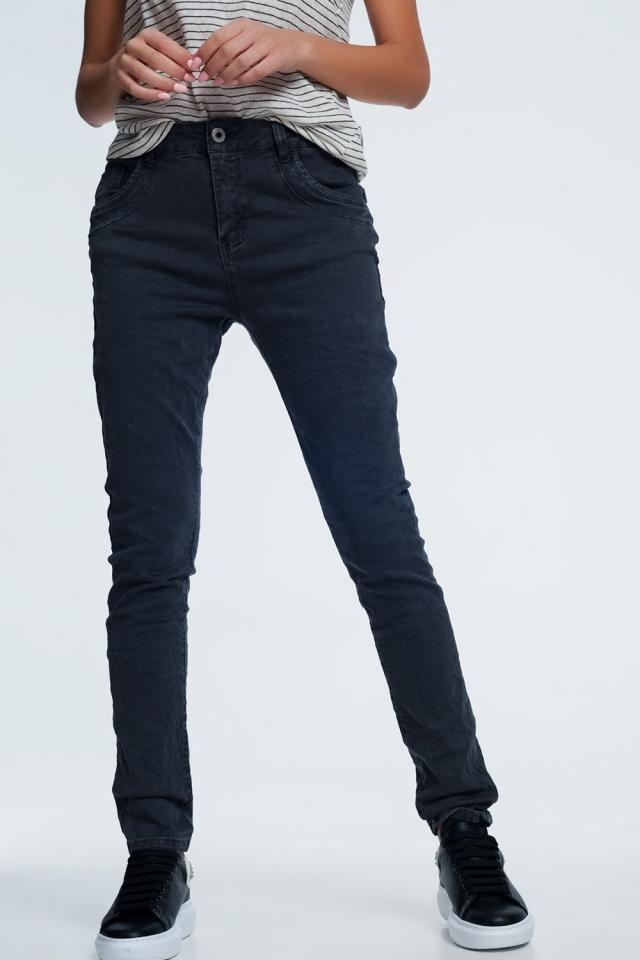 jean skinny gris avec entrejambe bas