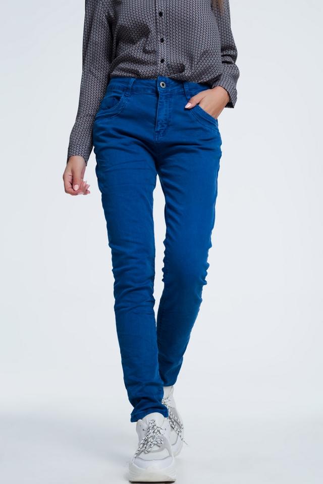 jean bleu orange avec entrejambe bas