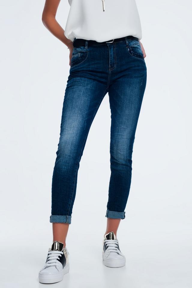 Jean bleu avec poche à paillettes