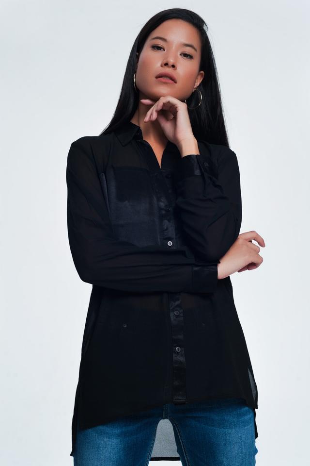 Chemise manches longues décontractée en satin noire