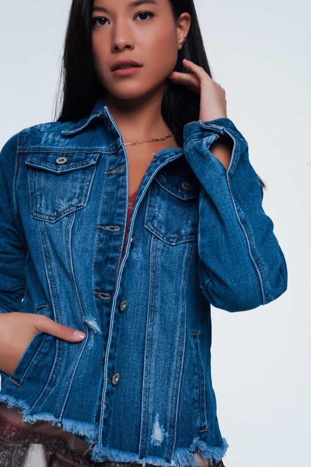 Veste en jean à ourlet effiloché