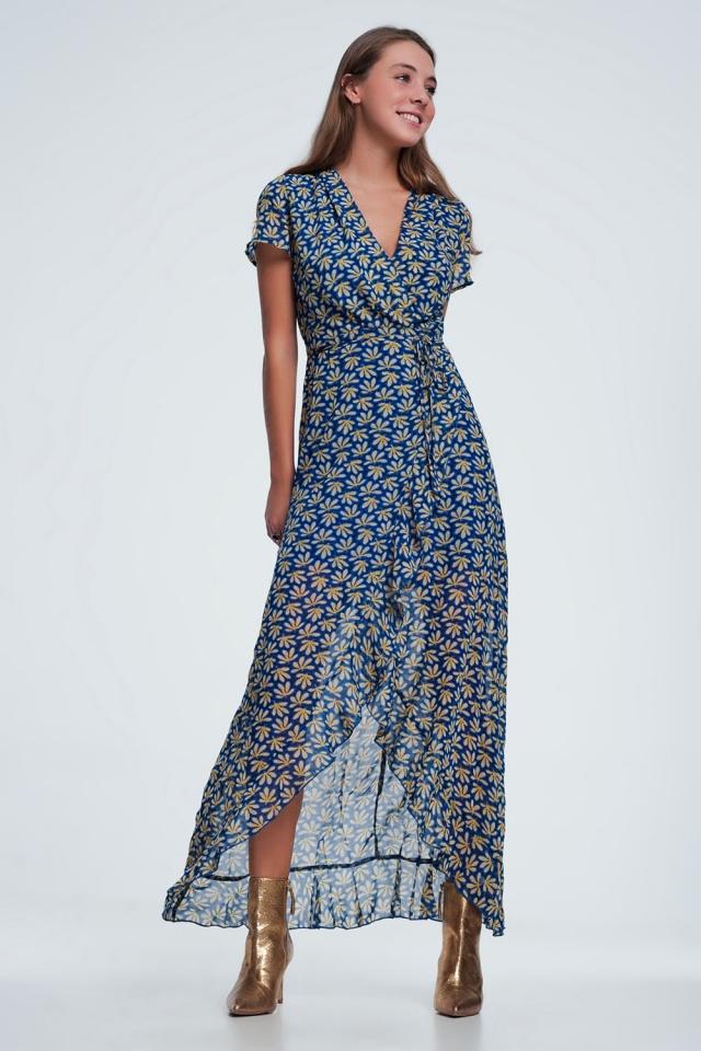 Bleu robe cache cœur mi-longue à imprimé fleurs et volants