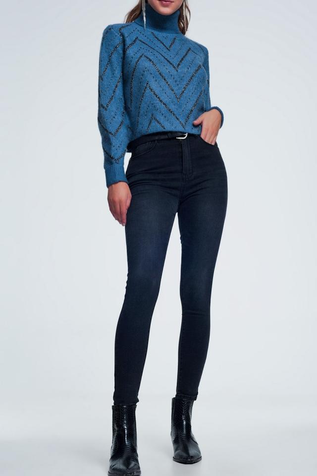 Jean noir taille haute délavé