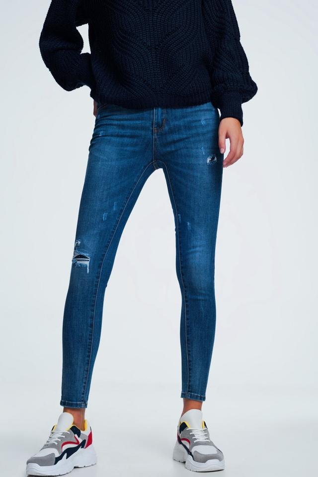 Bleu jean skinny effet vieilli délavage foncé