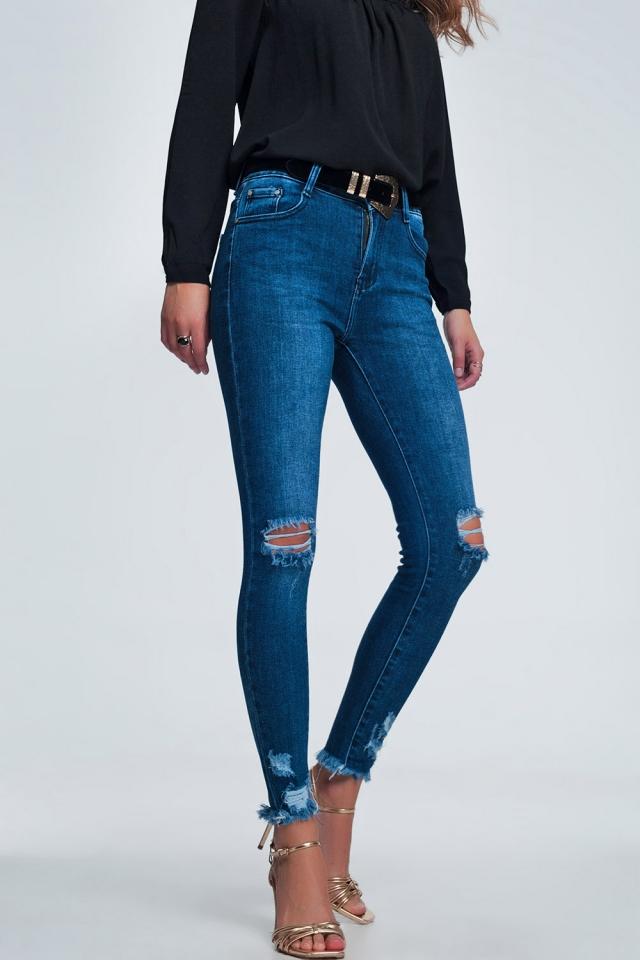 Pantalon skinny effiloché à taille haute