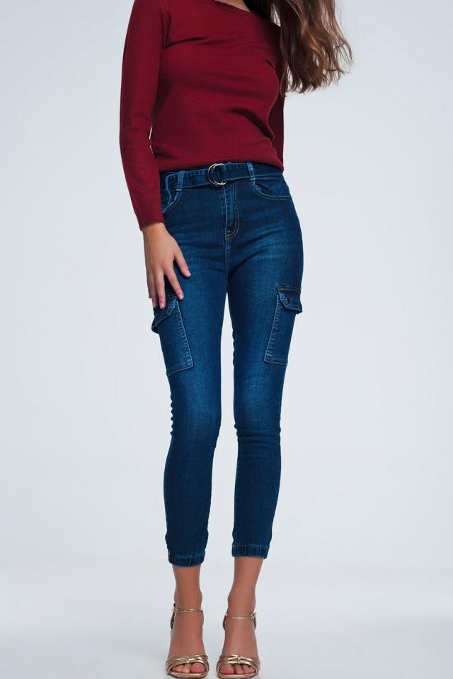 Pantalon cargo en jean bleu