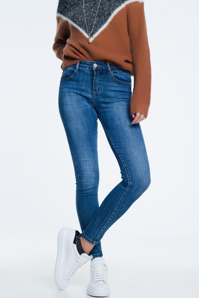 Jean skinny à délavage moyen