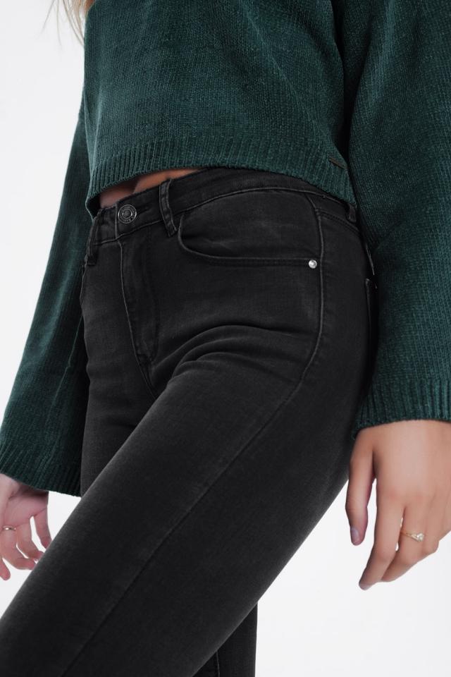 Jean skinny taille haute Noir délavé