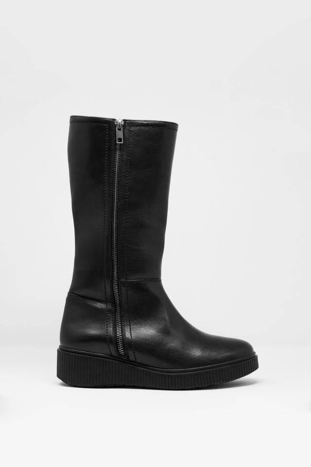 bottes zippées épaisses en noir