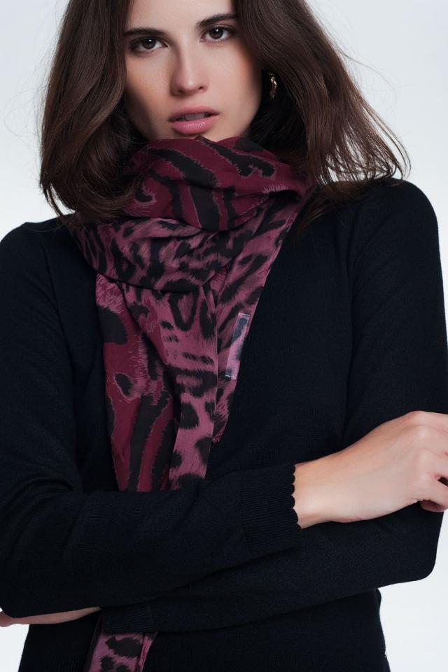 Écharpe longue imprimé léopard Bordeaux