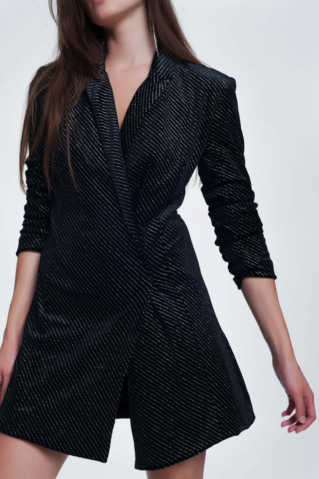 Robe courte scintillante style blazer noire