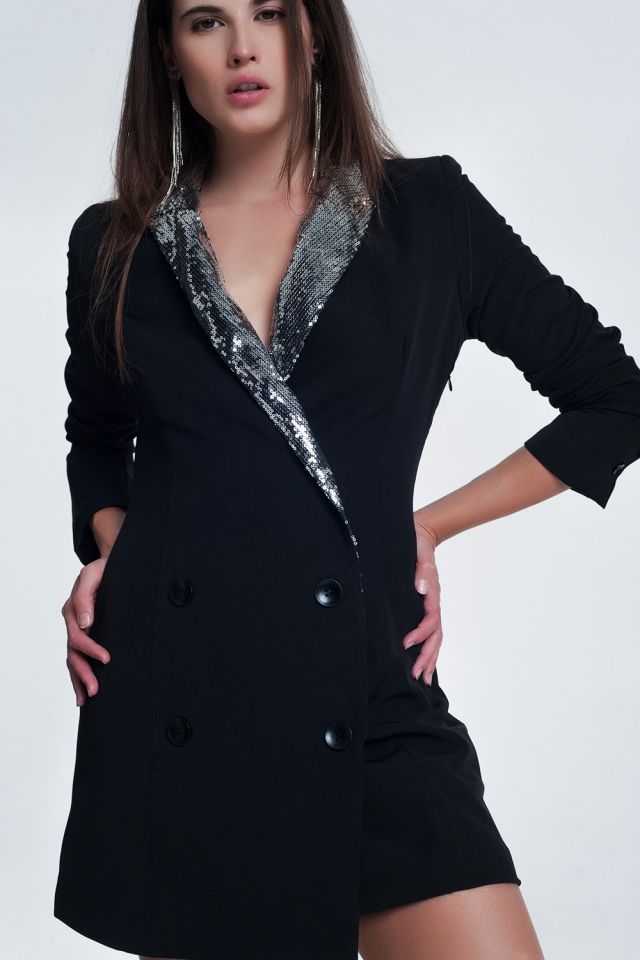 Robe blazer courte ornée style smoking