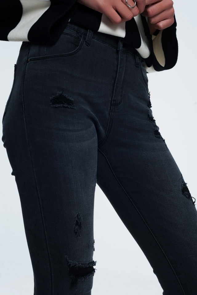 Jean skinny en détresse noir