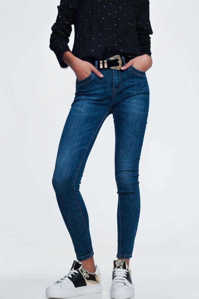 Jean skinny bleu délavé