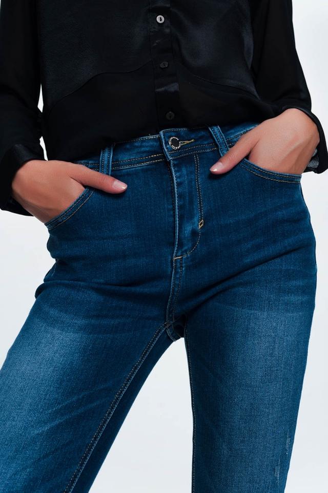 Jean skinny bleu en lavage moyen