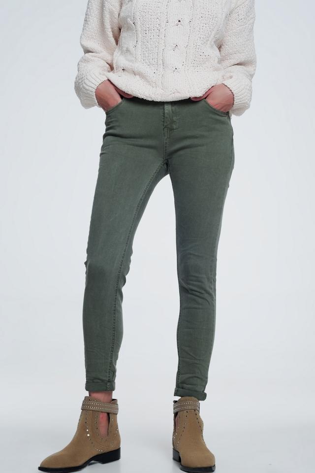 Jean skinny taille haute en vert
