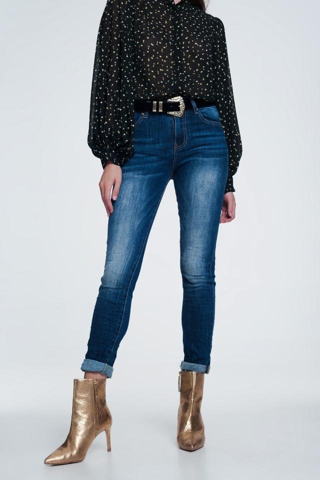 Jean skinny taille haute - Bleu foncé délavé extrême