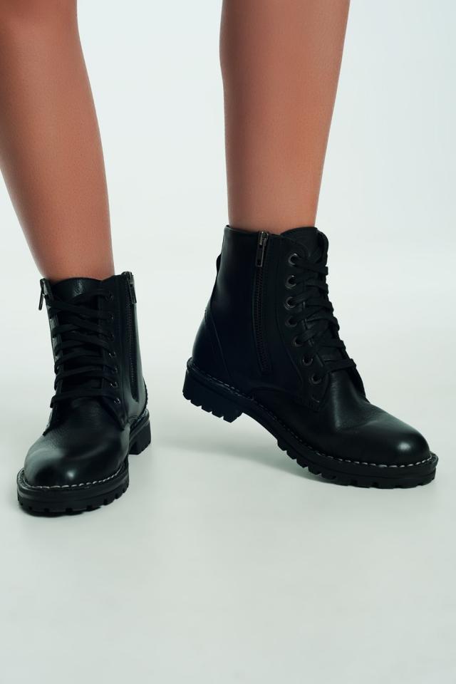 Bottes militaires à semelle épaisse en cuir Noir