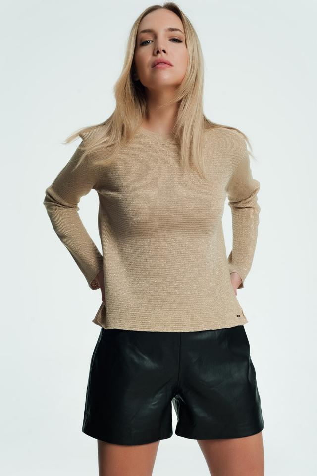 Pull beige avec détail côtelé et tricoté