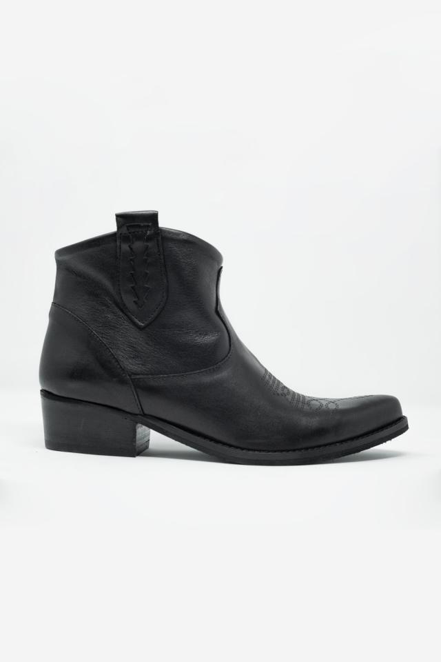 Bottines noir en cuir style western