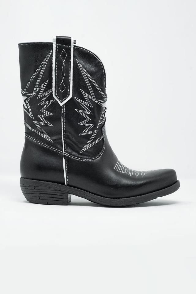 Bottines en cuir style cowboy Noir