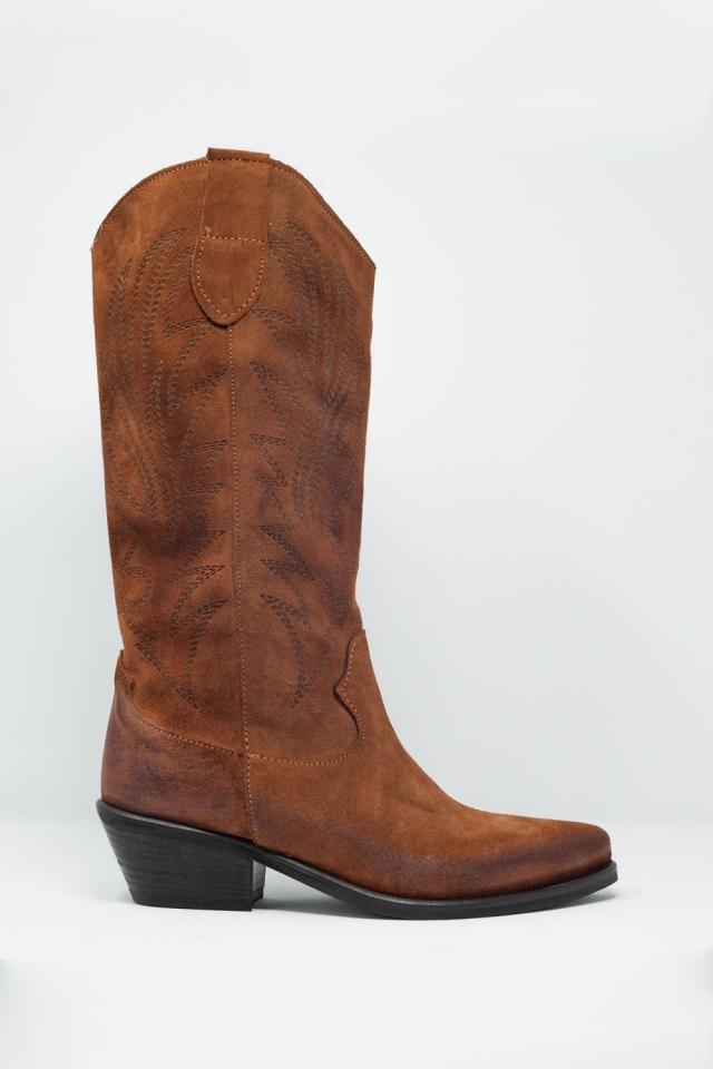 Bottines montantes style cowboy marron
