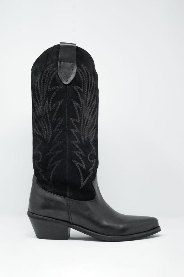 Bottines montantes style cowboy noir
