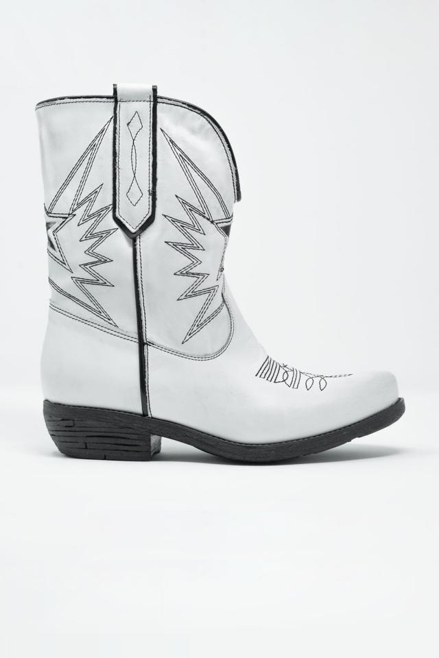 Bottes western en cuir Blanc