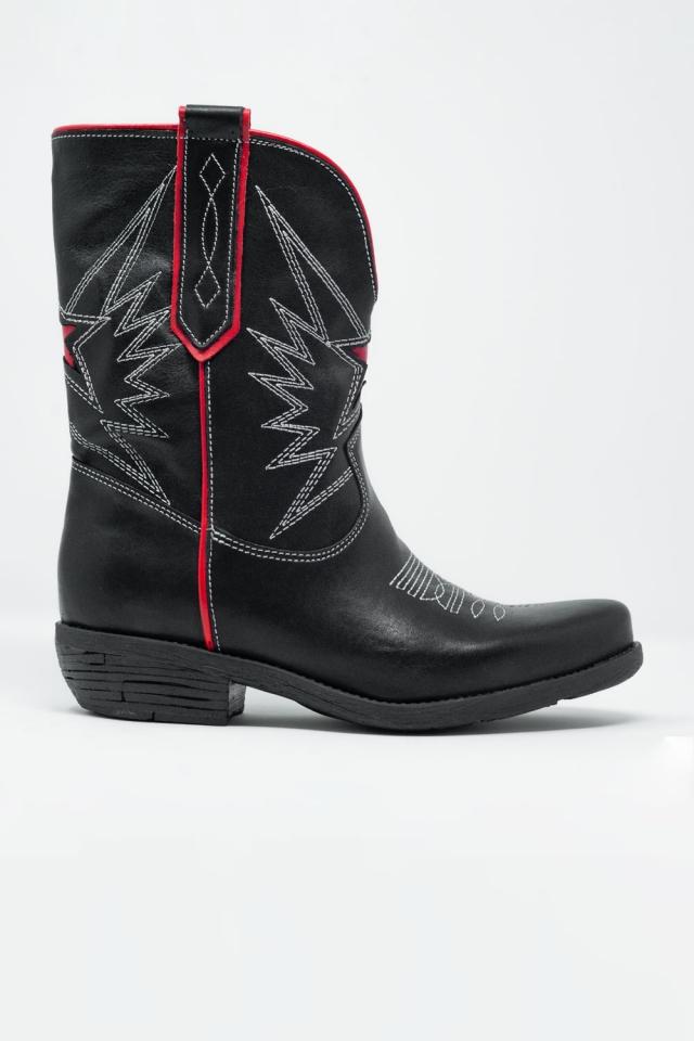 Bottes western en cuir noir et rouge