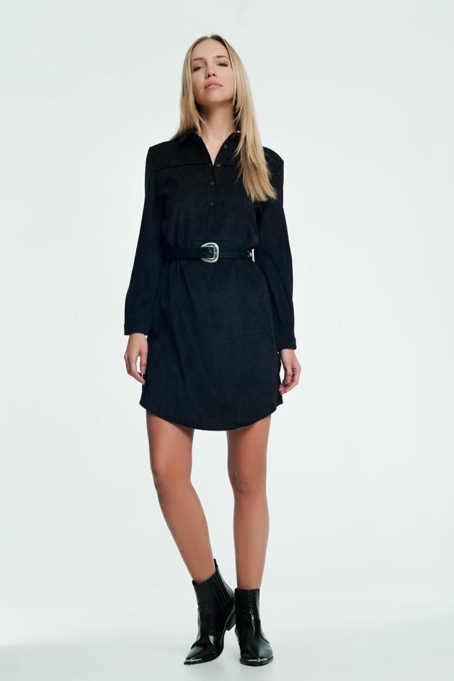 Robe chemise noire courte en velours côtelé