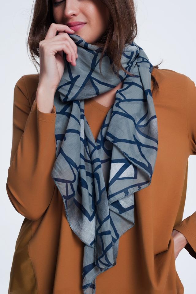 écharpe gris foncé avec imprimé abstrait