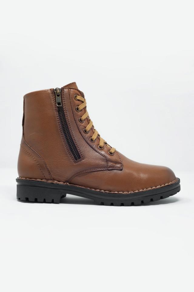 Bottes militaires à semelle épaisse en cuir marron