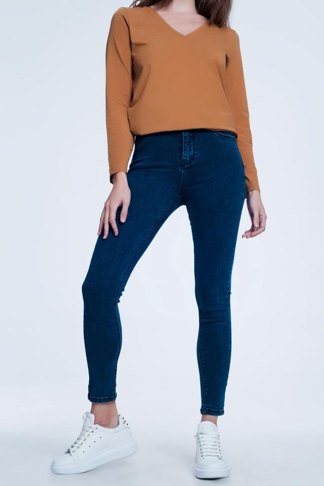 Jean skinny taille haute super stretch Bleu marine