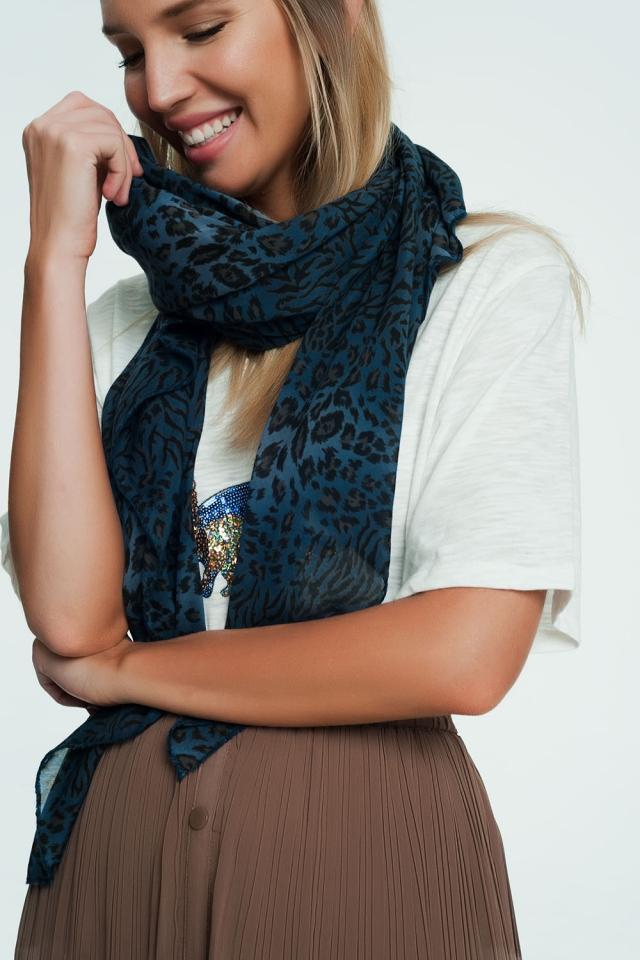 Foulard bleu imprimé léopard