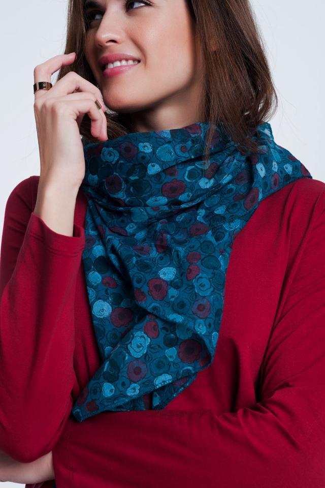 Écharpe à imprimé floral turquoise