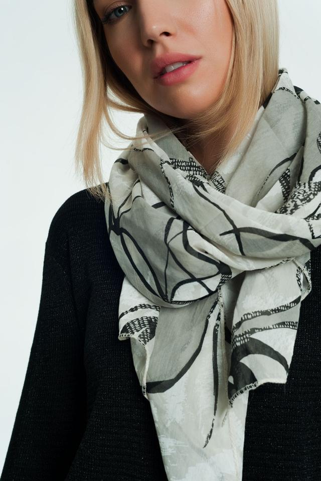 Écharpe grise à imprimé animal