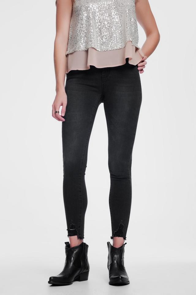 Jean skinny à bords bruts Noir