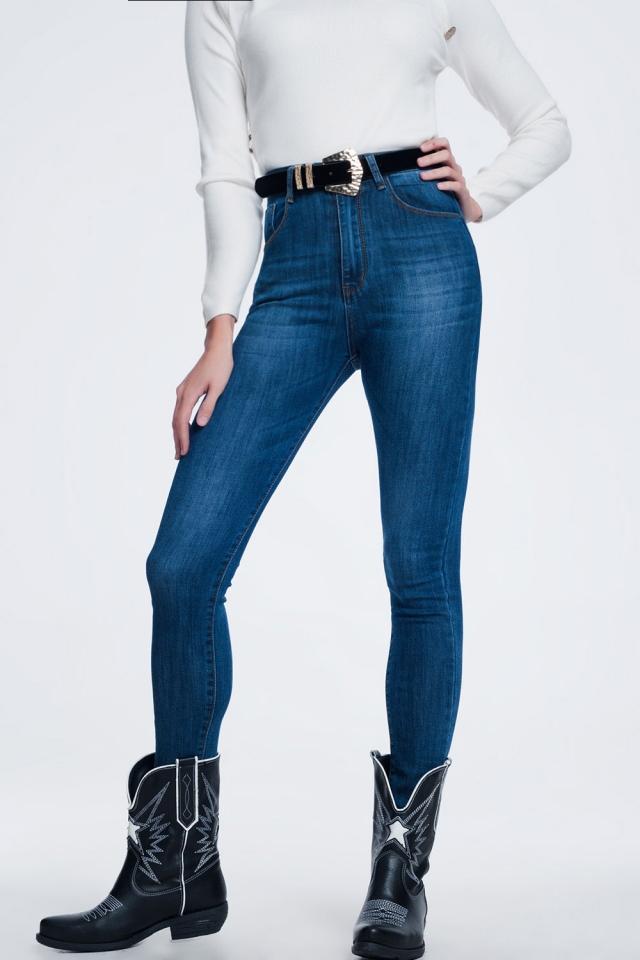 Jean skinny Délavage foncé