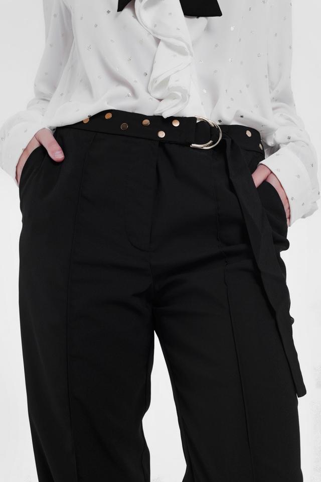 Pantalon avec ceinture Noir