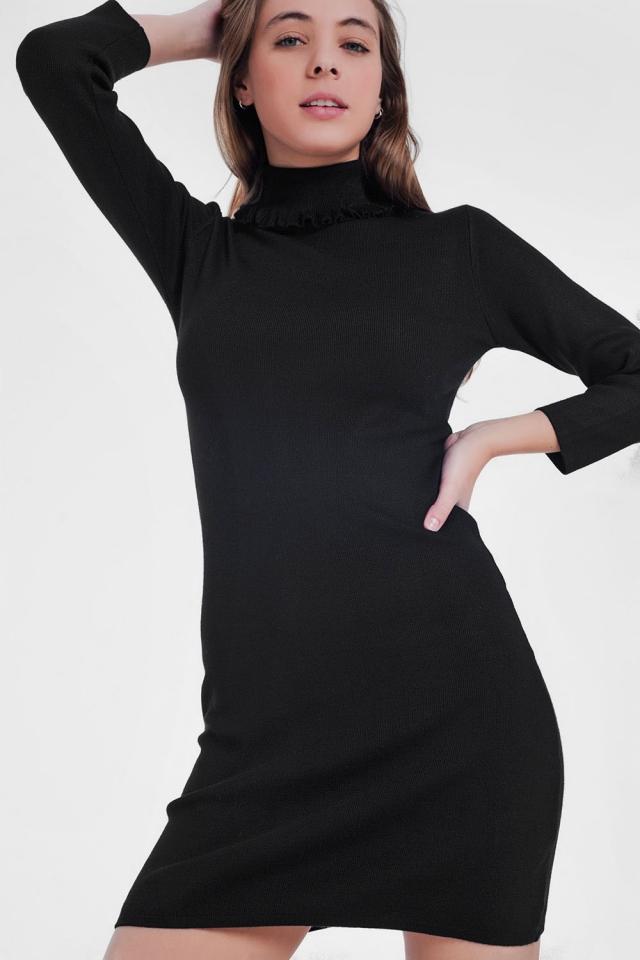 Robe pull basique à col roulé Noir