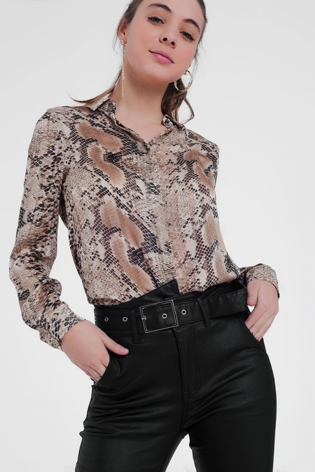 Chemise à manches longues avec imprimé peau de serpent