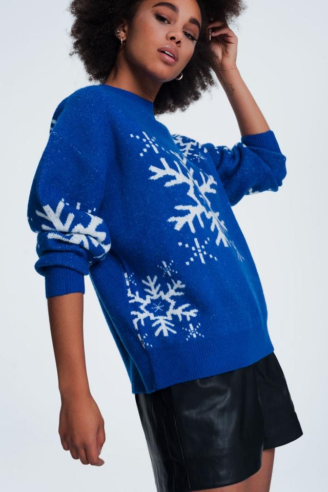 Pull de Noël motif flocon de neige en bleu