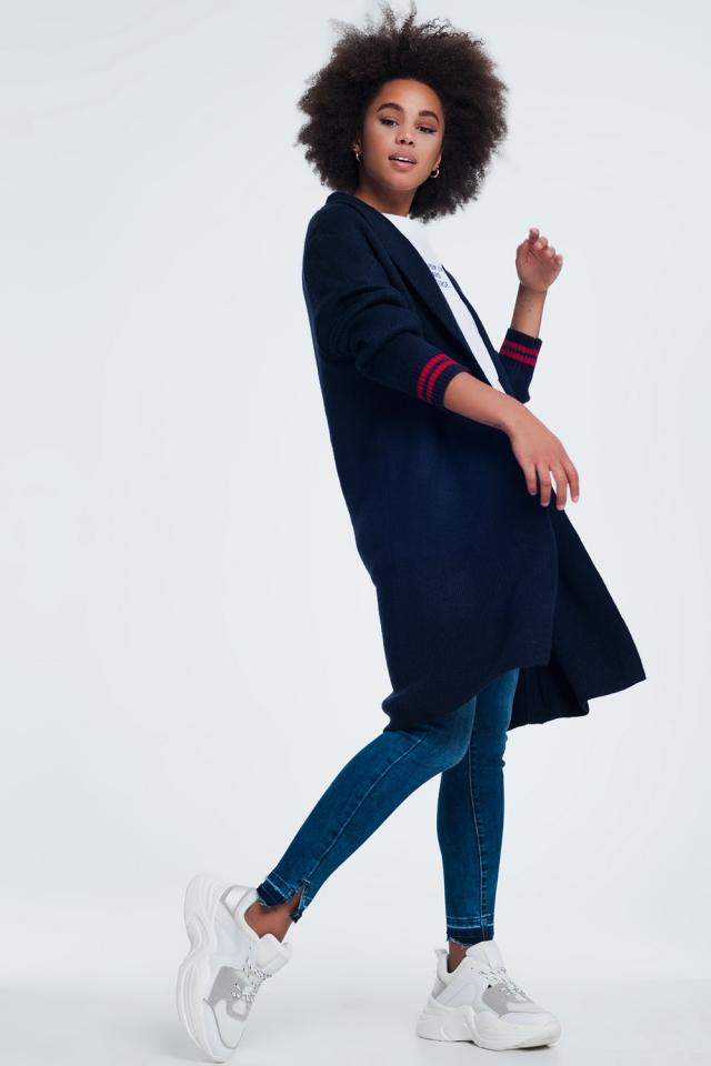 Cardigan col châle en maille bleu