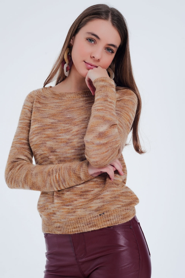 Beige sweater with boat neck