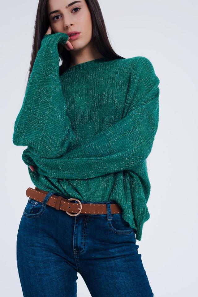 Pull oversize texturé à carreaux vert