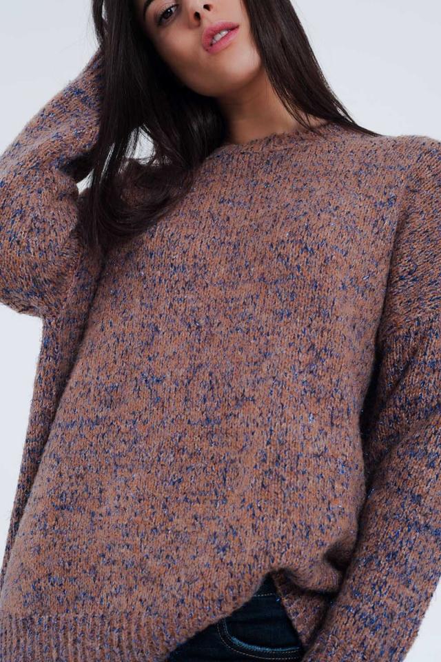Pull en tricot épais avec motif marbré rose