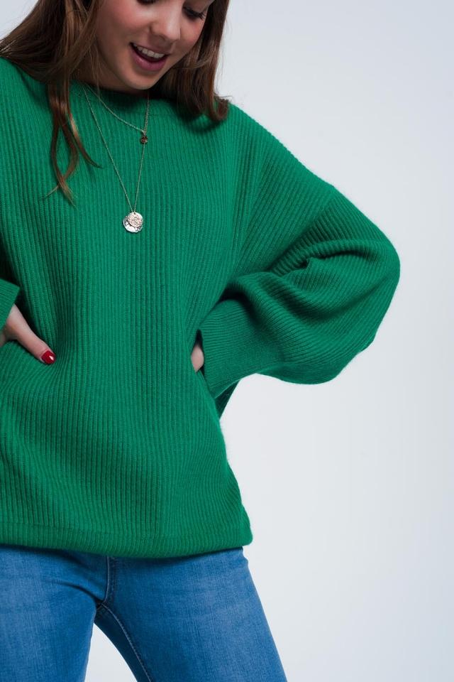 Pull oversize à manches chauve-souris en exclusivité Vert